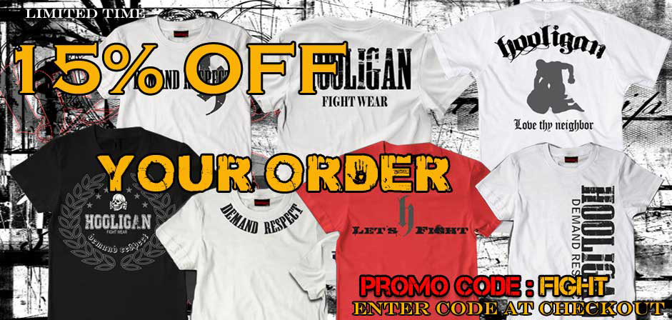 15% OFF PROMO HOOLIGAN FIGHT WEAR